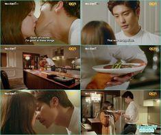 jin wook kiss yoo mi while holding plates, most romantic korean kiss at dinner - My Secret Romance: Episode 7