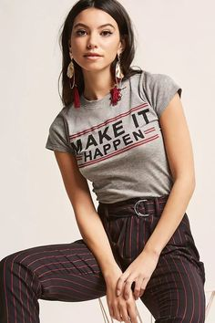 Product Name:Make It Happen Graphic Tee, Category:top_blouses, Price:12.9