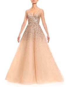 Sequined Illusion Tulle Ball Gown, Champagne by Carolina Herrera at Bergdorf Goodman.