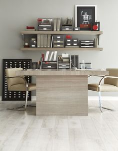 Conceal the storage and still add style with our Like-it® Desktop Collection in Smoke!