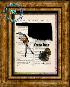 OKLAHOMA State Black Silhouette, State Birds, State Nickname Art - Beautifully Upcycled Vintage Dictionary Page Book Art Print by CocoPuffsArt on Etsy