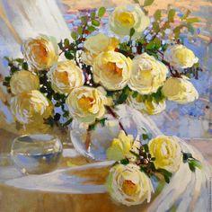 """Купить """"Нега роз"""" - бежевый, картина, картина в подарок, картина с цветами, картина маслом"""