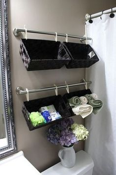 Baskets for storage over the toilet and 47 other interesting design ideas.