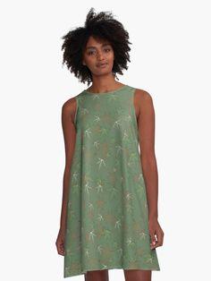Lion Pattern - Olive Green ' A-Line Dress by WickedRefined - Nicole Demereckis Women's A Line Dresses, Summer Dresses, Green Pattern, Retro Dress, I Dress, Designer Dresses, Cold Shoulder Dress, Floral, Clothes