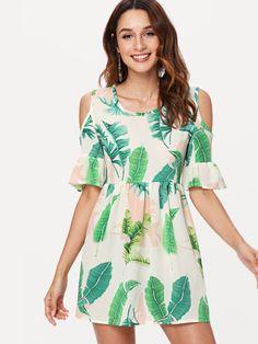 Vestido con estampado tropical de hombros descubiertos-Spanish SheIn(Sheinside) Off-the-shoulder tropical print dress-Spanish SheIn (Sheinside) Cute Dresses, Casual Dresses, Fashion Dresses, Girls Dresses, Spanish Dress, Modelos Fashion, Evening Dresses, Summer Dresses, Tropical Dress