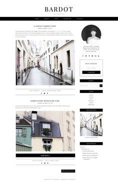 Blogger Template Premade Blog Design Bardot by 17thAvenueDesigns