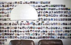 A gallery wall covered in Polaroid photos.