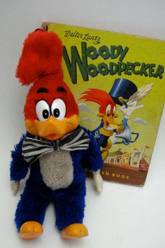 Vintage Woody Woodpecker Soft Toy with Original Little Golden Book, Woody Woodpecker Joins the Circus -1952