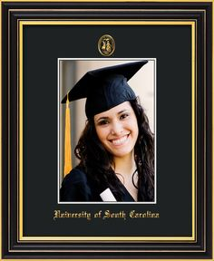 USC Upstate 5 x 7 Satin Black Photo Frame w/USCU seal black mat – Professional Framing Company