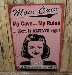 Mom Cave Sign*Magnetic Message Board