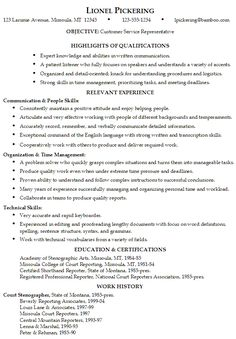 sample resume for someone seeking a job as a customer service representative - Excellent Resume Example