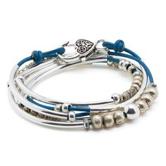 """Annie Long Silverplate Plus Size XXXLarge Bracelet Necklace with Gloss Cobalt Blue Leather Wrap by Lizzy James. Single Leather Strand Wrap Bracelet That Can Be Worn As A Wrap Bracelet & Necklace. FOR SIZING YOUR WRIST: If the string measures 7 7/8"""" - 8 1/4"""" without slack - your size is XXX-Large. Great Gift For Mother's Day, Graduations, Anniversaries, Birthdays, Christmas, Valentine's Day, Girlfriends, Moms, Grandmothers, Significant others, and more. Please Allow For Slight Leather…"""