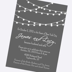 simple wedding invitation modern black and by BlueFenceDesigns, $11.00