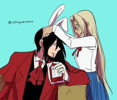 Alucard & little Integra, rabbit ears, Hellsing Nightwing Young Justice, Nightwing And Starfire, Karate Kid Costume, Power Girl Costume, Hellsing Ultimate Anime, Hunter Tattoo, Emo Pictures, Hellsing Alucard, Broly Movie