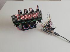 5 LED 8x8 Matrix Shields (MAX7219) und der Temperatursensor DS18B20 am Arduino UNO.
