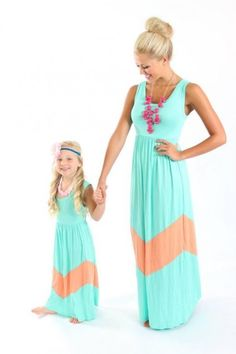 Nice matching mother and daughter maxi dresses!