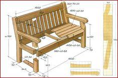 Чертеж скамейки для сада