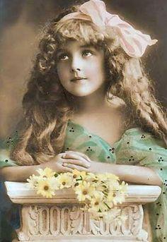 Blonde girl on pedestal - tinted ,
