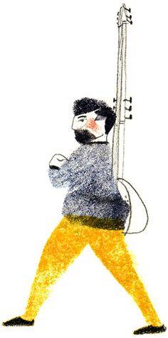 """Home i tiorba"" Stamp #illustration #ilustracion #music #musica #tiorba by Vanesa Freixa"