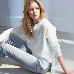 Plush and feather-soft, every woman deserves a piece (or two) of impossibly soft cashmere like this in her closet. With an all-over diagonal stitch, this is the perfect way to inject a feeling of luxury into everyday ensembles – from your favorit Jumper Outfit, The White Company, Luxury Gifts, Every Woman, Clothes For Sale, Nightwear, Lounge Wear, Cashmere, Cute Outfits