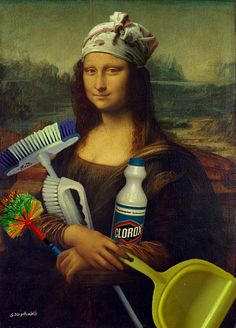 ready for work? Collage Mural, Classical Art Memes, Mona Lisa Parody, Mona Lisa Smile, Arabic Funny, Wow Art, Arte Pop, Funny Art, Cartoon Wallpaper