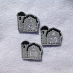 GRAY BARN Felt EMBELLISHMENT ~ Machine Embroidered Felt / Applique ~ Ready To Ship ~ Available Cut Or Uncut by CreationsByKG on Etsy