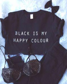 Schwarz ist meine glückliche Farbe Tshirt Tumblr Blogger