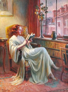 """Delphin Enjolras (May 13, 1857–1945) was a French academic painter. Enjolras painted portraits, nudes, interiors, and used mostly watercolours, oil and pastels. He is best known for his intimate portraits of young women performing mundane activities such as reading or sewing, often by illuminated by lamplight. Perhaps his most famous work is the """"Young Woman Reading by a Window"""""""