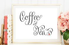 Coffee and Tea Sign, Sign for Coffee and Tea, Printed Wedding Sign