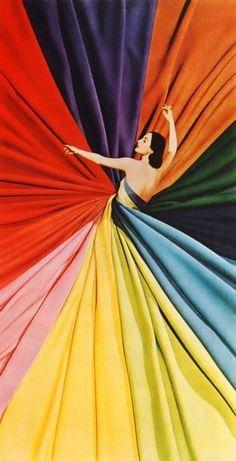 Colour wheel dress, photo by Paul Malon, 1950s