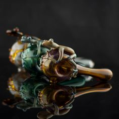 Frog Glass Pipe Spoon Hand Blown Thick Wall in by andromedaglass