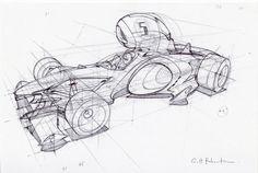 Drawthrough formula car design sketch using 3D canvas
