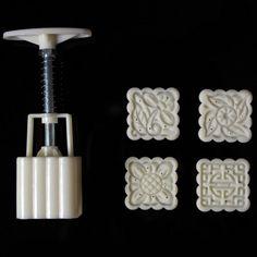 square 4pcs food grade plastic mooncake molds baking tools 50g cake decoration molds