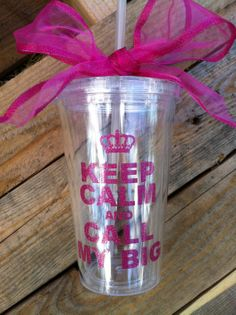 Personalized Sorority gifts,  pink GLITTER keep calm and call my big 16oz tumbler with straw can be personalized. $12.00, via Etsy.