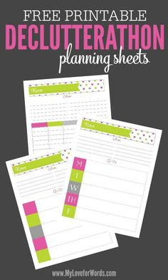 """Do your decluttering plans keep failing? """"If you fail to plan, you plan to fail."""" Use these free printable Declutterathon planning sheets to finally take control of your clutter and create and organized, happy home."""