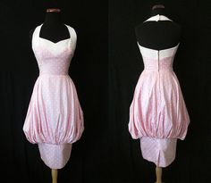 "Amazing 1950's Designer Pink Polka Dot Halter Bubble Dress by ""Lilli Ann"" Rockabilly VLV Pinup Vixen Size-Small"