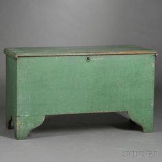 Green-painted Pine Blanket Chest   Sale Number 2680B, Lot Number 384   Skinner Auctioneers