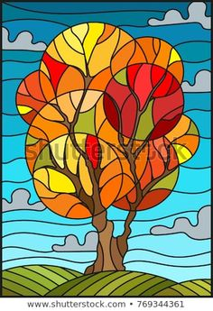 Illustration of Illustration in stained glass style with autumn tree on sky background with clouds vector art, clipart and stock vectors. Stained Glass Quilt, Faux Stained Glass, Stained Glass Designs, Stained Glass Patterns, Afrique Art, Tiffany Art, Illustration, Arte Pop, Autumn Trees