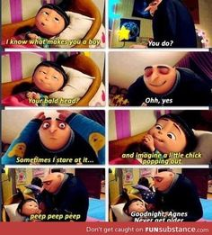 Never get older.  Gru and Agnes. Despicable Me 2.