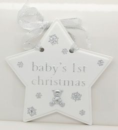 Baby My 1st First Christmas Star Plaque White silver Boy Girl Christening Gift | eBay