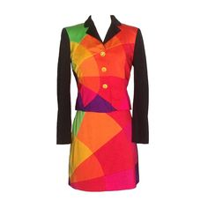 6f7074d1de77 Moschino Cheap and Chic Multicolor Skirt Suit Emoticon Smiley Face Buttons  1990s
