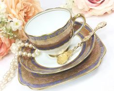 21 Piece Roslyn China Gold Encrusted English Tea Set, Gold Floral Filigree English Bone China Tea Cup, Saucer, Plate, Tea Party #A451
