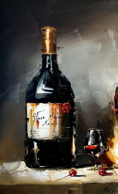 Kal Gajoum Still life. Wine Painting, Fruit Painting, Bottle Painting, Paint And Drink, Painted Wine Bottles, Wine Art, Decoupage Vintage, Art Party, Still Life