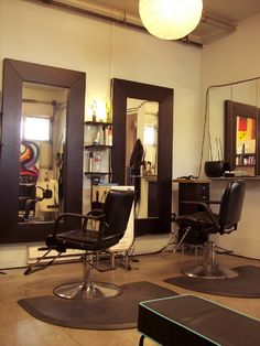Hair styling stations. MagDoll's Hair Salon Designed by LoveInteriors.