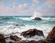 Por amor al arte: Charles Vickery Ocean Scenes, Beach Scenes, Ocean Art, Ocean Waves, Seascape Paintings, Landscape Paintings, Ocean Paintings On Canvas, Beach Art, Art Oil