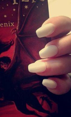 #nails #white #squoval