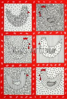 Kids Artists: Patterned chicken