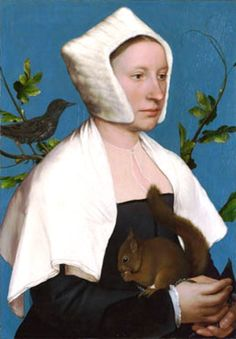 Hans Holbein the Younger - A Lady with a Squirrel and a Starling (Anne Lovell?) – c. 1526-8