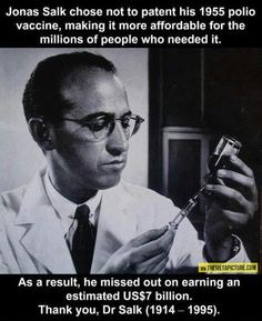 Dr. Jonas Edward Salk (1914 – 1995) was an American medical researcher and virologist. He discovered and developed the first successful inactivated polio vaccine. While attending New York University School of Medicine, Salk stood out from his peers not just because of his academic prowess, but because he went into medical research instead of becoming a practicing physician.