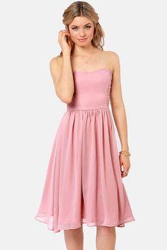 Someday Sweetheart Strapless Blush Pink Midi Dress